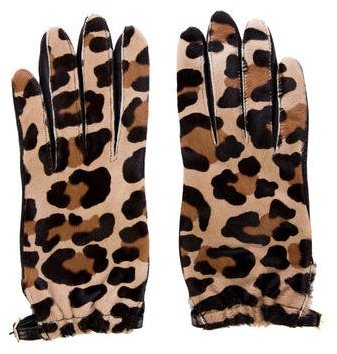 Tory Burch Tory Burch Ponyhair Leopard Print Gloves