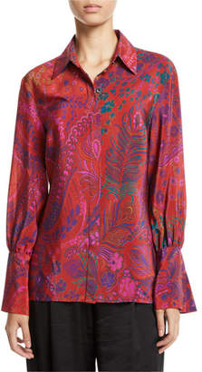 Josie Natori Long-Sleeve Button-Front Floral-Print Silk Blouse