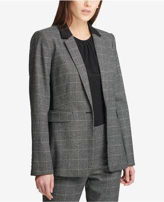 DKNY Plaid One-Button Blazer, Created for Macy's