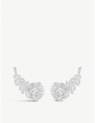 Boucheron Plume de Paon 18ct white-gold and diamond earrings