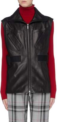 Acne Studios Patch pocket shirred waist leather gilet