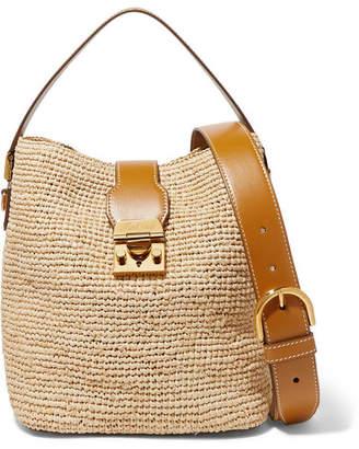 Mark Cross Murphy Leather-trimmed Raffia Bucket Bag - Beige