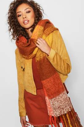 boohoo Orange Block Check Blanket Scarf