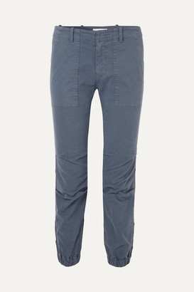 Nili Lotan Cropped Stretch-cotton Twill Pants - Storm blue