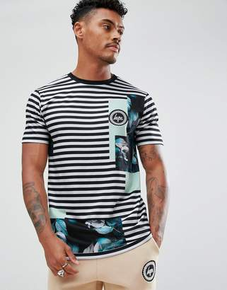 Hype T-Shirt In Black Stripe With Floral Print