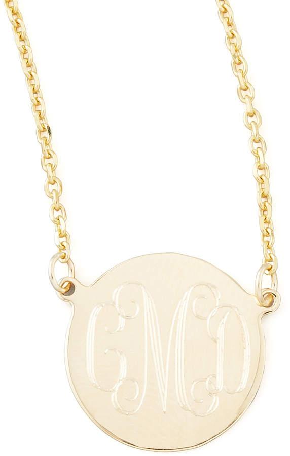 "Sarah Chloe Cara Monogrammed 14kt Gold Necklace, 1/2"""