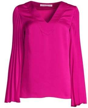 Trina Turk Cocktail Soiree Almande Pleat-Sleeve Blouse