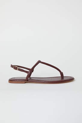 H&M Leather Toe-post Sandals - Red