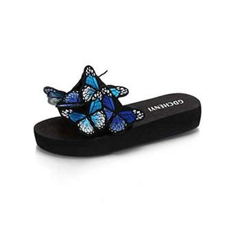 59efdbf0e3d216 T-JULY Girls Ladies Fashion Colorful Butterfly Flat Slide Sandals for Women  Bohemian Slip on