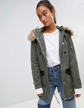 Parisian Parka Jacket With Faux Fur Trim