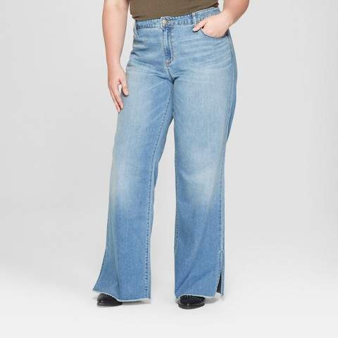 Universal Thread Women's Plus Size Wide Leg Side Slit - Universal Thread Medium Wash