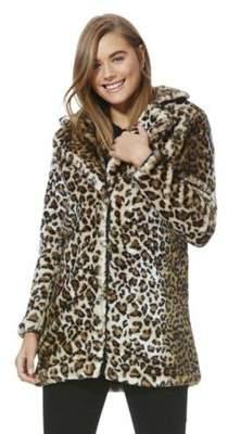 Vero Moda Leopard Print Faux Fur Jacket