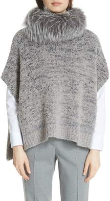 Fabiana Filippi Knit Cape with Removable Genuine Fox Fur Collar