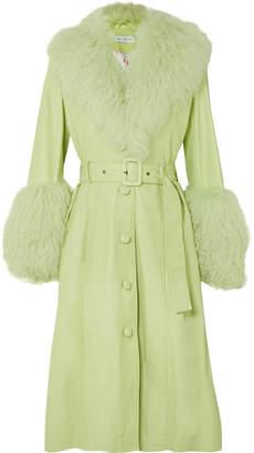 Saks Potts - Belted Shearling-trimmed Leather Coat - Green