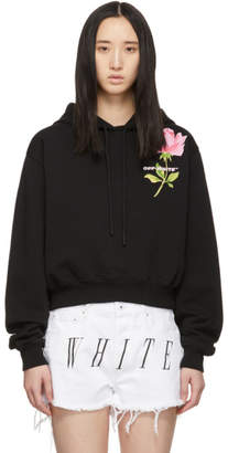 Off-White Black Cropped Flower Hoodie