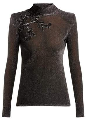 Christopher Kane Sequin Embroidered Lurex Knit Top - Womens - Silver