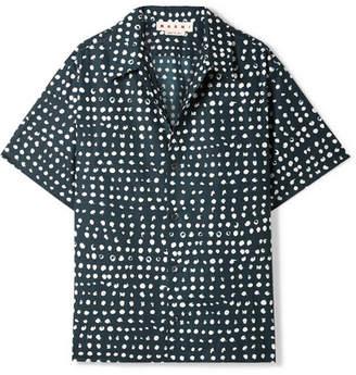 Marni Polka-dot Cotton-poplin Shirt - Petrol