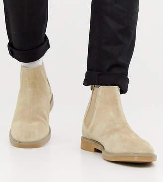 Pull&Bear suede chelsea boots in sand