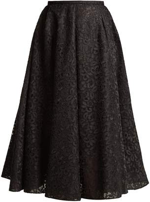 Rochas Floral-lace A-line midi skirt