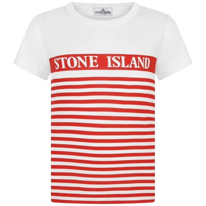 Stone IslandBoys Red Striped Jersey Top
