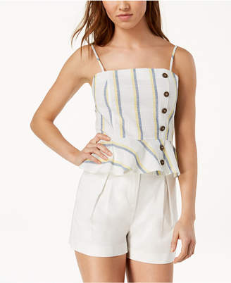 J.o.a. Striped Cotton Peplum Top