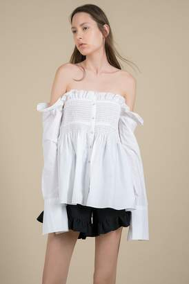 Genuine People Off-Shoulder Button Front Blouse