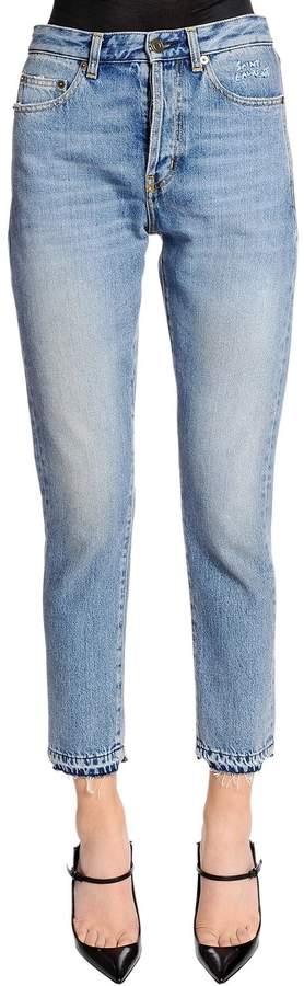 Enge Jeans Aus Denim Mit Stickerei