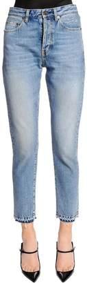 Saint Laurent Slim Fit Logo Embroidered Denim Jeans