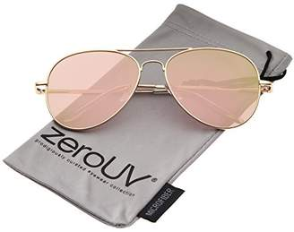Zerouv Small Matte Metal Rose Gold Pink Mirror Flat Lens Aviator Sunglasses