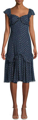Rebecca Taylor Sleeveless Sweetheart-Neck A-Line Speckled Dot Silk Habotai Midi Dress