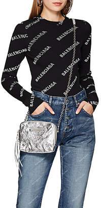 Balenciaga Women's Logo-Print Rib-Knit Top - Black