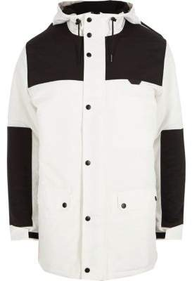 River Island White and black color block hooded coat