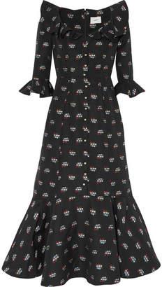Erdem Opaline Ruffled Embroidered Cotton-blend Midi Dress - Black