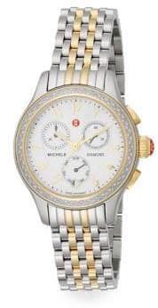 Michele Two-Two Stainless Steel & Diamond Chronograph Watch