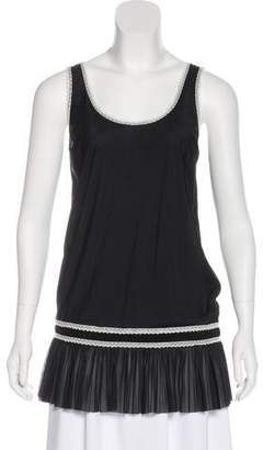 Miu Miu Lace Scoop Neck Sleeveless Top