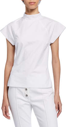 Rosetta Getty Mock-Neck Cap-Sleeve Poplin Top