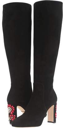 Dolce & Gabbana Suede Knee Boot with Jewel Embellished Heel Women's Dress Boots