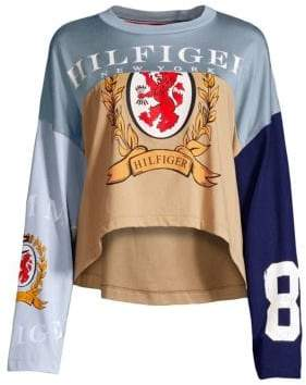 Tommy Hilfiger Tommy Tommy Women's Spliced Football Long-Sleeve Top - Croissant - Size Small