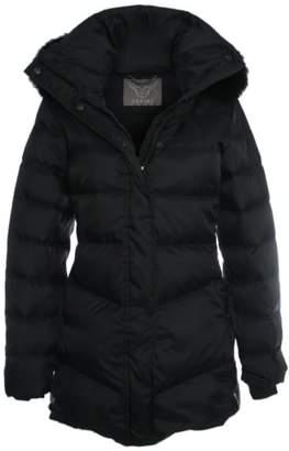 Daniel Black Mid Length Fur Trim Hooded Jacket