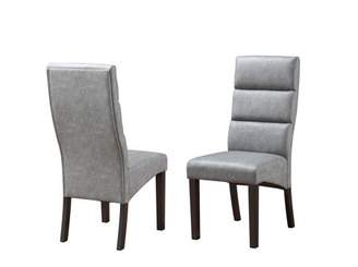 Pilaster Designs Olivia Gray Finish Upholstered Faux Leather Transitional Kitchen Dinette Dining Parsons Side Chairs With Cappuccino Legs (Set Of Two)