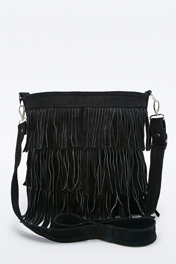Urban Renewal Vintage Re-Made Suede Fringe Bag in Black