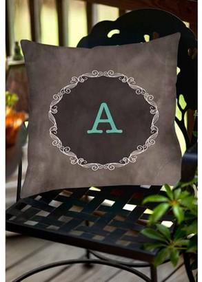 Thumbprintz Chalkboard Scroll Monogram Turquoise Decorative Pillows