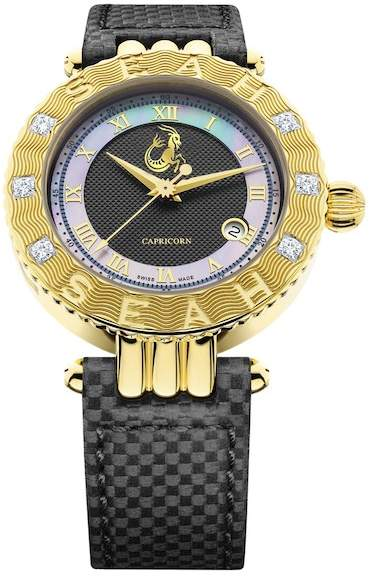 Seah Designs Unisex Black Genuine Alligator Strap Diamond Accented Empyrean Zodiac Watch - Capricorn - 0.50 ctw
