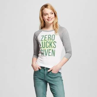 Modern Lux Women's Zero Lucks Given 3/4 Sleeve Raglan Graphic T-Shirt - Modern Lux (Juniors') - White