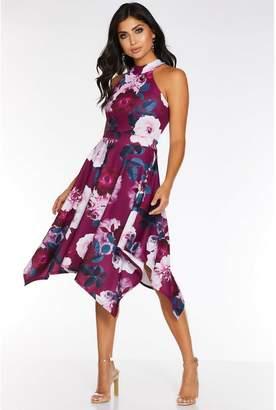 Quiz Berry and Teal Floral Print Hanky Hem Dress
