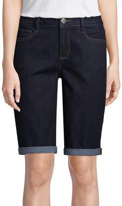 ST. JOHN'S BAY 7 Classic Fit Denim Bermuda Shorts-Petite