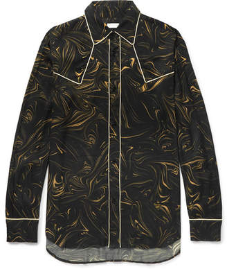 Dries Van Noten Oversized Piped Marble-Print Satin Western Shirt