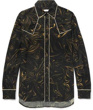 Dries Van Noten Oversized Piped Marble-Print Satin Western Shirt