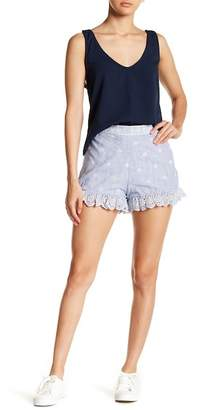 Romeo & Juliet Couture Striped Eyelet Scalloped Shorts