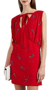 Prada Women's Floral-Crystal-Embellished Crepe Minidress - Red